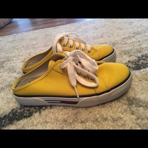 Yellow Tommy Hilfiger slide on shoes
